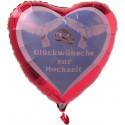 Luftballon- Herz, GLÜCKWÜNSCHE ZUR HOCHZEIT, inklusive Helium