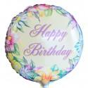 Happy Birthday Flower, Luftballon aus Folie (ohne Helium)