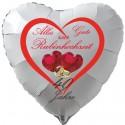 """Weißer Luftballon in Herzform """"Alles Gute zur Rubinhochzeit"""", 40 Jahre, mit Herzrubinen, inklusive Helium"""