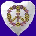 Herzluftballon, Flowers Peace, Partydeko Hippie-Mottoparty, Luftballon (inklusive Helium)