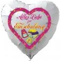 Alles Liebe zur Einschulung. Weißer Luftballon in Herzform inklusive Helium-Ballongas