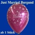 Luftballons Hochzeit, Latex, 1 Stück Just Married, burgund