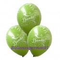 Danke, Motiv-Luftballons, Apfelgrün, 3 Stück