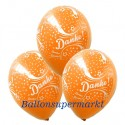 Danke, Motiv-Luftballons, Orange, 3 Stück