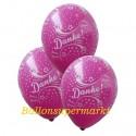 Danke, Motiv-Luftballons, Pink, 3 Stück