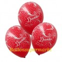 Danke, Motiv-Luftballons, Rot, 3 Stück