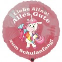 Alles Gute zum Schulanfang! Rosa Luftballon mit Einhorn, personalisiert, mit Namen, inklusive Helium-Ballongas