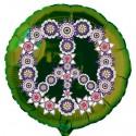 Rundluftballon, Flowers Peace, Partydeko Hippie-Mottoparty, grüner Luftballon (inklusive Helium)