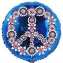 Rundluftballon, Flowers Peace, Partydeko Hippie-Mottoparty, Luftballon (inklusive Helium)