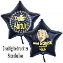 Endlich Abitur - und tschüss - Goodbye Schule! Luftballon ohne Helium-Ballongas, Sternballon, schwarz