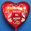 Roter Herzluftballon zur Hochzeit, Hochzeitsringe, Ömür boyu Ask, mutluluk! Ohne Helium
