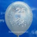 Silberne Luftballons, Zahl 25, zur Silberhochzeit, 25 Stück