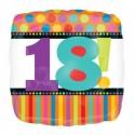 Luftballon aus Folie, Geburtstag 18, Happy 18TH Birthday, Dots and Stripes (heliumgefüllt)
