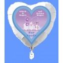 Herzluftballon zur Taufe eines Jungen, Glück und Segen auf Deinen Wegen, inklusive Ballongas Helium