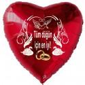 Roter Herzluftballon zur Hochzeit, Hochzeitsringe, Tüm düğün için en iyi! Ohne Helium