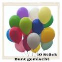Luftballons, Latex 23 cm Ø, 10 Stück / Bunt gemischt - Gute Qualität