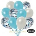 30er Luftballon-Set Metallic, 10 Hellblau-Konfetti,10 Metallic-Hellblau und 10 Metallic-Weiß Luftballons