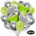 30er Luftballon-Set mit Folienballons, 9 Silber-Konfetti, 9 Metallic-Apfelgrün, 8 Chrome-Silber Luftballons, 2 Herzballons aus Folie Silber und 2 Herzballons aus Folie Limonengrün
