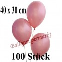 Jumbo Metallic Luftballons, Latex, Rosegold , 40 x 30 cm, 100 Stück