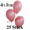 Jumbo Metallic Luftballons, Latex, Rosegold , 40 x 30 cm, 25 Stück