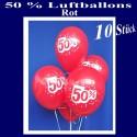 Luftballons 50 Prozent, 10 Stück, rot