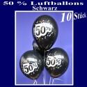 Luftballons 50 Prozent, 10 Stück, schwarz