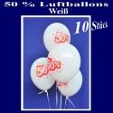 Luftballons 50 Prozent, 10 Stück, weiß