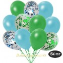 50er Luftballon-Set Metallic, 8 Grün-Konfetti, 7 Hellblau-Konfetti, 18 Metallic-Grün und 17 Metallic-Hellblau Luftballons