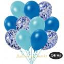 50er Luftballon-Set Metallic, 15 Blau-Konfetti, 18 Metallic-Blau und 17 Metallic-Hellblau Luftballons