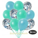 50er Luftballon-Set Metallic, 15 Hellblau-Konfetti, 18 Metallic-Aquamarin und 17 Metallic-Hellblau Luftballons