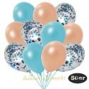 50er Luftballon-Set Metallic, 15 Hellblau-Konfetti, 18 Metallic-Lachs und 17 Metallic-Hellblau Luftballons