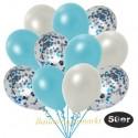 50er Luftballon-Set Metallic, 15 Hellblau-Konfetti, 18 Metallic-Weiß und 17 Metallic-Hellblau Luftballons