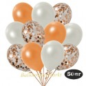 50er Luftballon-Set Metallic, 15 Orange-Konfetti, 18 Metallic-Weiß und 17 Metallic-Orange Luftballons