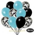 50er Luftballon-Set Metallic, 15 Schwarz-Konfetti, 18 Metallic-Hellblau und 17 Metallic-Schwarz Luftballons