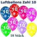 Luftballons mit der Zahl 10  zum 10. Geburtstag, bunt gemischt, 30cm, 10 Stück
