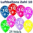 Luftballons mit der Zahl 10  zum 10. Geburtstag, bunt gemischt, 30cm, 25 Stück
