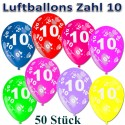 Luftballons mit der Zahl 10  zum 10. Geburtstag, bunt gemischt, 30cm, 50 Stück