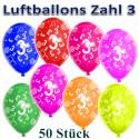 Luftballons mit der Zahl 3  zum 3. Geburtstag, bunt gemischt, 30cm, 50 Stück