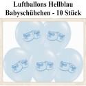 Baby Party Luftballons, Baby Schuhe, Hellblau, 10 Stück