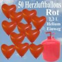 Helium- Einwegbehälter mit 50 Herzballons Hochzeit