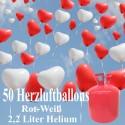 Helium- Einwegbehälter mit 50 Herzballons Hochzeit  ROT/WEISS