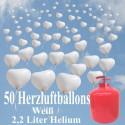 Helium- Einwegbehälter mit 50 Herzballons Hochzeit WEISS