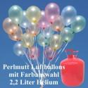 Helium- Einwegbehälter mit 50 Luftballons Perlmutt