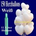 Maxi-Set 1W, 150 weiße Herzluftballons mit Helium