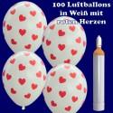 Maxi Ballons Helium Set, 100 weiße Luftballons mit roten Herzen