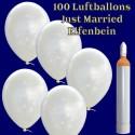 Ballons Helium Maxi Set Hochzeit, 100 Hochzeitsluftballons, Just Married in Elfenbein, mit Helium