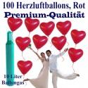 Maxi-Set 1R, 100 rote Herzluftballons in Premiumqualität mit Helium