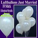 Luftballons Hochzeit, Latex, 10 Stück, Just Married, Elfenbein-Metallic