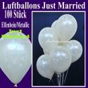 Luftballons Hochzeit, Latex, 100 Stück, Just Married, Elfenbein-Metallic