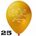 Luftballons, Latex, Alles Gute zur Konfirmation, 30 cm Ø, Gold, 25 Stück